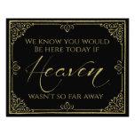 glittery gold black heaven memorial wedding sign photo art