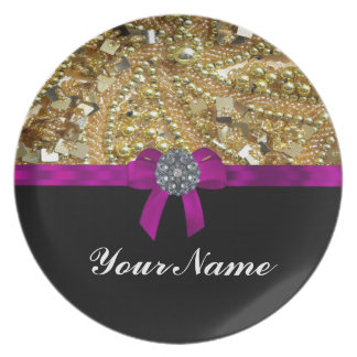 Glittery gold & black plate
