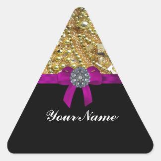 Glittery gold & black triangle sticker