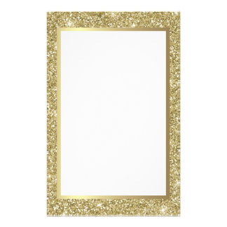 Glittery Gold Border Stationery