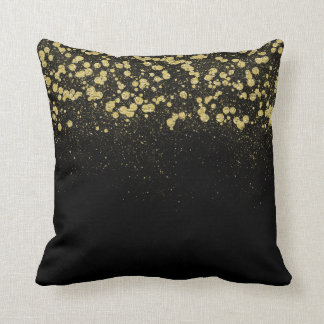Glittery Gold Confetti Throw Pillow