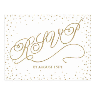 Glittery Gold Stars Fancy White RSVP Postcard