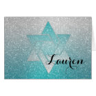 Glittery Gradient Bat Mitzvah Thank You Turquoise Card
