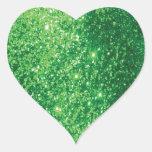 Glittery Green Heart Sticker