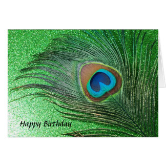 Glittery Green Peacock Feather Still Life Card