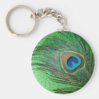 Glittery Green Peacock Feather Still Life Key Ring