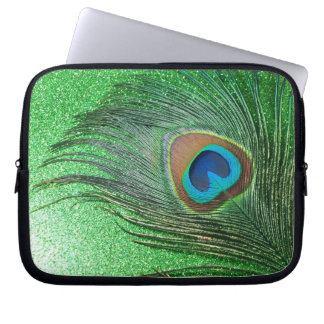 Glittery Green Peacock Feather Still Life Laptop Sleeve
