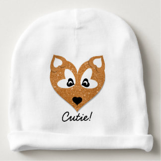 Glittery Heart Shaped Fox Baby Beanie