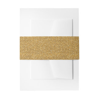 Glittery Invitation Belly Band Faux Gold Glitter