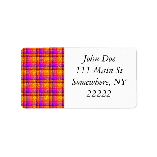 Glittery Neon Plaid Address Label