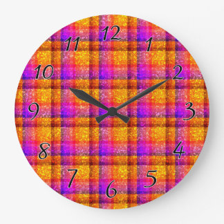 Glittery Neon Plaid Large Clock