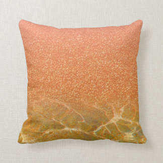 Glittery Pink Coral Sea and Sand Pillow