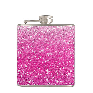 Glittery Pink Ombre Hip Flask