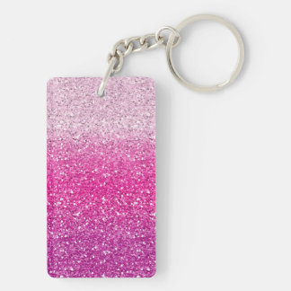 Glittery Pink Ombre Double-Sided Rectangular Acrylic Key Ring