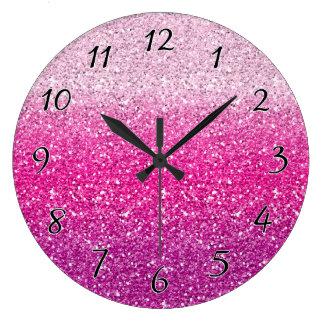 Glittery Pink Ombre Wallclock