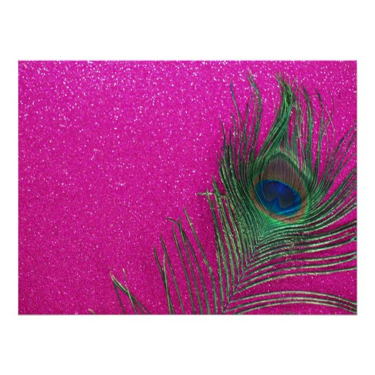 Glittery Pink Peacock Feather Poster
