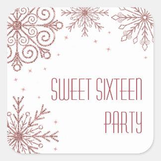 Glittery Pink Snowflakes Sweet Sixteen Birthday Square Sticker