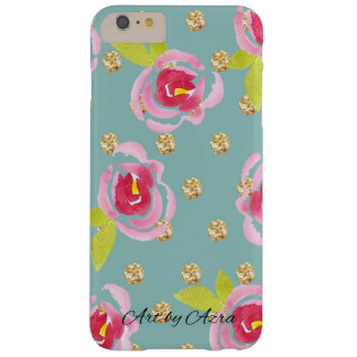 Glittery polka dots with watercolor florals case
