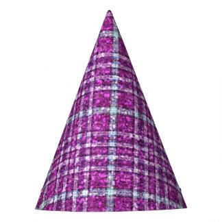Glittery Purple Awareness Plaid Party Hat