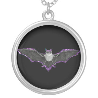 Glittery Purple Outlined Bat Necklace