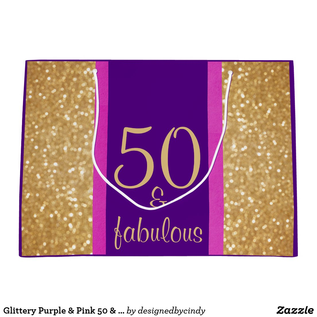 Glittery Purple & Pink 50 & Fabulous 50th Birthday Large Gift Bag