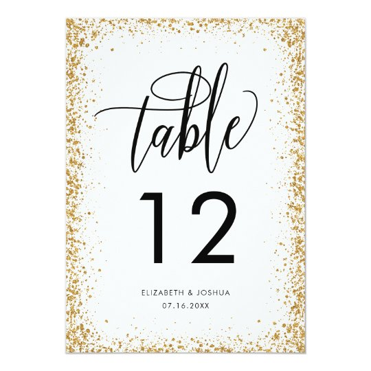 Glittery Reception Table Number Faux Gold Glitter