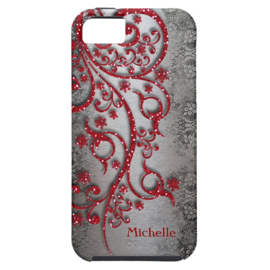 Glittery Red Black Silver Personalised iPhone 5 Case