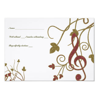 Glittery Red Gold White Music rsvp 9 Cm X 13 Cm Invitation Card