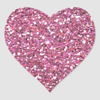 Glittery Shiny Pink Glitters Heart Sticker
