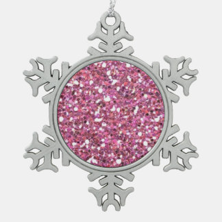 Glittery Shiny Pink Glitters Snowflake Pewter Christmas Ornament