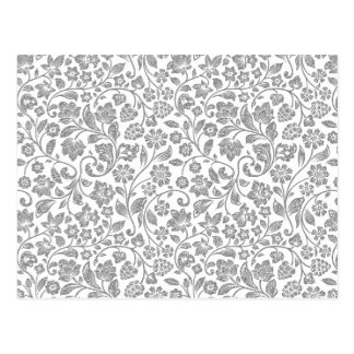 Glittery Silver Floral on White Postcard