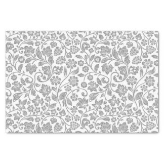 Glittery Silver Floral on White Tissue Paper