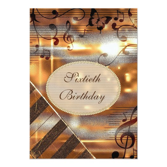 Glittery Silver & Gold Music Notes 60th Birthday