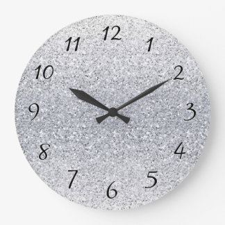 Glittery Silver Ombre Large Clock