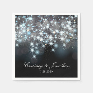 Glittery Sparkle Lights Elegant Glamorous Wedding Disposable Napkin
