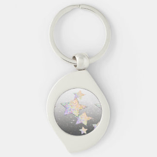 glittery star Silver-Colored swirl key ring