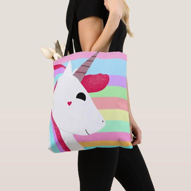 Glittery Unicorn with Stripes Cute Drawing Tote Bag | Zazzle.co.uk