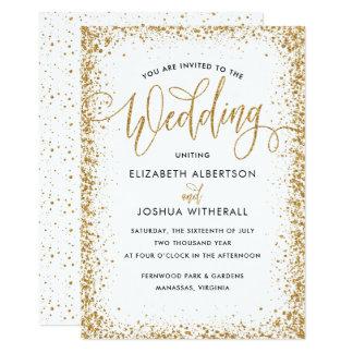 Glittery Wedding Invitation in Faux Gold Glitter