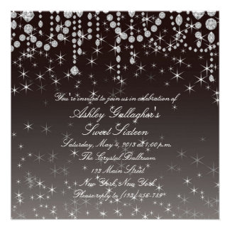 Glitz and Glam - Diamond Sweet 16 Invite