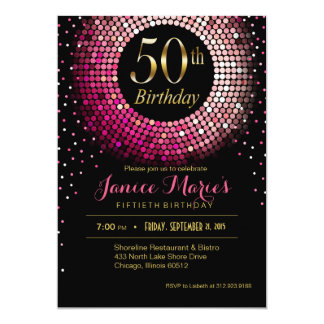 Glitz Bling Confetti 50th Birthday pink gold black Card