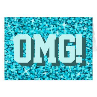 Glitz Blue 'OMG!' 'Happy Birthday' greetings card