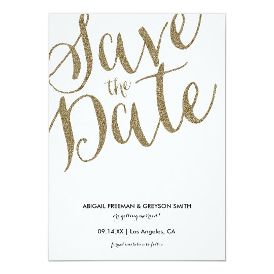 Glitz Faux Glitter Save The Date Announcement Card