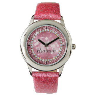 Glitz Glam Bling Glitter Pink Wrist Watches