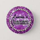 Glitz Glam Bling Quinceañera Celebration purple 6 Cm Round Badge
