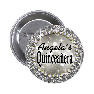 Glitz Glam Bling Quinceañera Celebration silver 6 Cm Round Badge