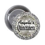 Glitz Glam Bling Quinceañera Celebration silver Badge