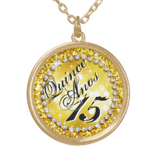 Glitz Glam Bling Quinceañera Celebration yellow Gold Plated Necklace