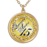 Glitz Glam Bling Quinceañera Celebration yellow Round Pendant Necklace