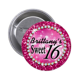 Glitz Glam Bling Sweet 16 Celebration fuschia 6 Cm Round Badge