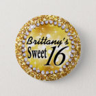 Glitz Glam Bling Sweet 16 Celebration gold brite 6 Cm Round Badge